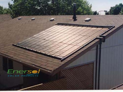 A picture of a solar pool heater on a roof