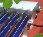 Closeup of a vacuum tube solar hot water collector